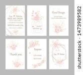 set of cards with roses leaves... | Shutterstock .eps vector #1473989582