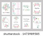 set of cards with roses leaves... | Shutterstock .eps vector #1473989585