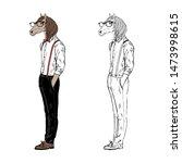 horse gentleman dressed up in... | Shutterstock .eps vector #1473998615