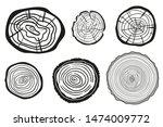 tree rings on white. wood cross ... | Shutterstock . vector #1474009772