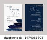 wedding navy grunge splash... | Shutterstock .eps vector #1474089908