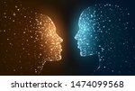 two faces of luminous particles ... | Shutterstock .eps vector #1474099568