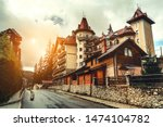 wooden cottages in the ski... | Shutterstock . vector #1474104782