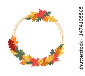 round frame with autumn leaves. ... | Shutterstock .eps vector #1474105565