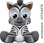 Stock vector cute baby zebra 147416378