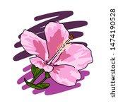 Hand Drawn Hibiscus Flower Log...