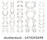 horns linear big set. bull and... | Shutterstock . vector #1474245698
