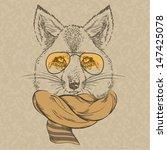 Hand Drawn Fox Portrait In...