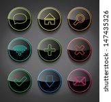 vector black glossy neon icons...