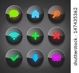 vector black glossy neon icons...
