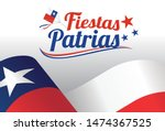 waving chile flag with text... | Shutterstock .eps vector #1474367525