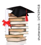 grad hat with diploma and books ... | Shutterstock . vector #147439418
