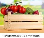 fresh vegetables in wooden box... | Shutterstock . vector #147444086