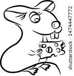 cute rat fast sketch. simple... | Shutterstock .eps vector #1474447772