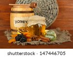 jar of honey  wooden barrel ... | Shutterstock . vector #147446705