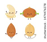 cute happy nuts make fitness... | Shutterstock .eps vector #1474476278