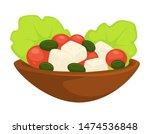 greek salad caesar in plate... | Shutterstock .eps vector #1474536848
