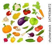 vegetables icons set.... | Shutterstock . vector #1474536872