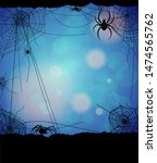 spider and web elements on blue ...   Shutterstock .eps vector #1474565762
