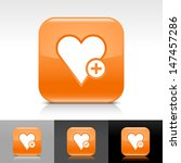 heart icon set. orange color...