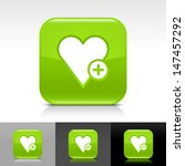heart icon set. green color...