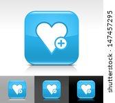 heart icon set. blue color...