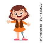 happy kid with prosthetic leg...   Shutterstock .eps vector #1474586522