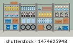 storeroom. shelving with... | Shutterstock .eps vector #1474625948