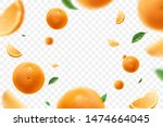 falling juicy oranges with... | Shutterstock .eps vector #1474664045