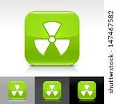 radiation icon set. green color ...