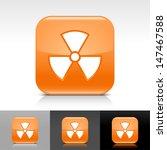 radiation icon set. orange...