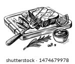 steak bbq drawing. meat hand... | Shutterstock .eps vector #1474679978