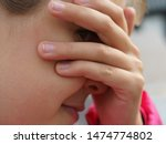 the girl plays hide and seek.... | Shutterstock . vector #1474774802