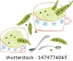 green pea soup served i retro... | Shutterstock .eps vector #1474776065