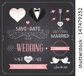 chalkboard style wedding design ... | Shutterstock .eps vector #147479252