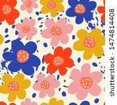 floral trendy seamless pattern. ...