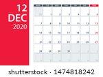 december 2020 calendar planner  ... | Shutterstock .eps vector #1474818242