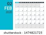 february 2020 calendar planner  ... | Shutterstock .eps vector #1474821725