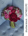 wedding bouquet of red and pink ... | Shutterstock . vector #147482192