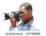 a photographer takes a photo with his digital camera isolated on white - stock photo