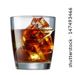 glass of whiskey with ice cubes ... | Shutterstock . vector #147493466