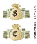 full sack with euro and dollar...   Shutterstock .eps vector #14749471