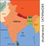 vector illustration of india map | Shutterstock .eps vector #1474964285