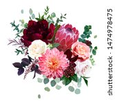 Luxury Fall Flowers Vector...