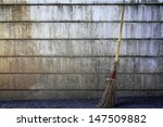 Broom With Grunge Wall.