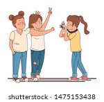 teenagers friends smiling and... | Shutterstock .eps vector #1475153438