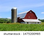 Old Rustic Red Barn And Silo...