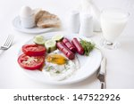 tasty breakfast with scrambled... | Shutterstock . vector #147522926
