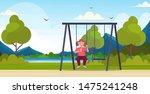 fat obese girl sitting on swing ... | Shutterstock .eps vector #1475241248