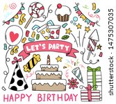 hand drawn party doodle happy... | Shutterstock .eps vector #1475307035